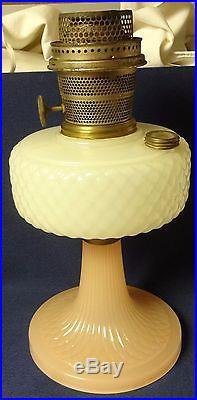 Quilt Pink and White Moonstone Kerosene Lamp Aladdin Mantle Lamp Company