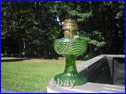 RARE 1939 Round Base VARIANT Aladdin Washington Drape Green Glass Oil Kero Lamp