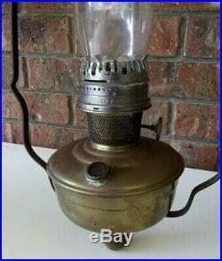 RARE ALADDIN HANGING OIL KEROSENE LAMP. BRASS & WROUGHT IRON with ENAMEL SHADE