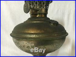 RARE ALADDIN OLD nickel KEROSENE oil TABLE LAMP MODEL NO. 2 TRANSITION 3 BURNER