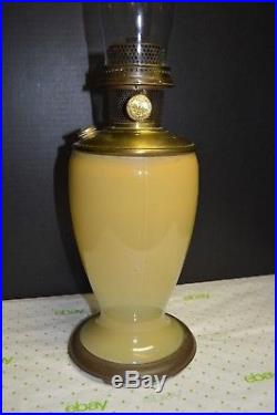 RARE! ALADDIN PALE YELLOW #1231 U, VENETIAN OIL LAMP ART GLASS VASE #12 Burner