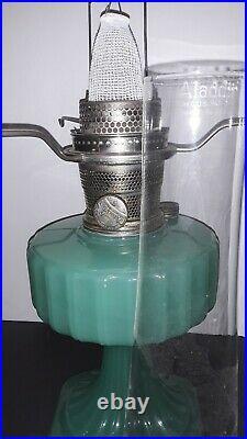 RARE Aladdin 1936 Jade Green Moonstone Corinthian Lamp & Whip-o-lite Shade A1