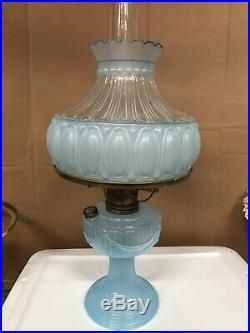 RARE Aladdin Short Lincoln Drape Kerosene Oil Lamp BLUE MOONSTONE 1 of 250 NOS
