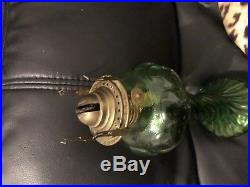 RARE BEAUTIFUL VASELINE GLASS ANTIQUE KEROSENE OIL LAMP Aladdin Vintage