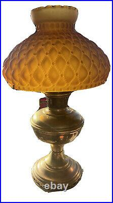 RARE! Vintage Aladdin 12 Oil Lamp Glass Amber Frosted Shade Vintage Aesthetic