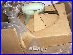 RARE Vintage Green Aladdin Glass Lamp Shade Pine Cones 10 Oil Kerosene coleman