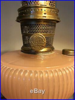 Rare 1938 Aladdin Vertique Rose Moonstone B-87 Lamp with B burner and chimney