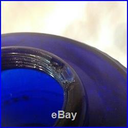 Rare Aladdin cobalt blue TLD scallop foot kerosene oil lamp chip in top threads