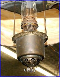 Rare Antique Aladdin Six Panel Slag Glass Hanging Oil Kerosene Lamp