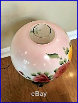 Rare Antique Vintage Gone With The Wind Pink Rose Hurricane Oil Kerosene Lamp