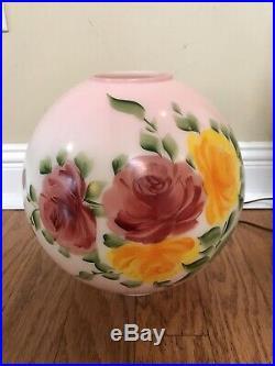 Rare Antique Vintage Gone With The Wind Pink Rose Hurricane Oil Kerosene Lamp