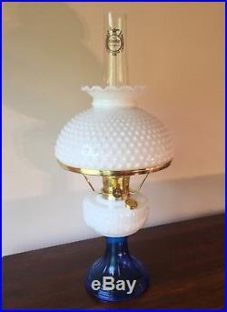 Rare Sapphire Blue & Opal Lincoln Drape Aladdin Oil Lamp 1990 Mint Hobnail Shade