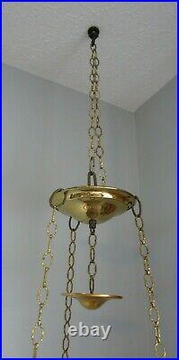 Rare Vintage 1979 Aladdin Hanging Brass Kerosene Lamp Complete withinstructions