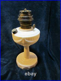 Rare Vtg Antique Aladdin TALL Lincoln Drape Creamy Pink Model B-75 Oil Lamp