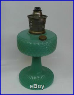 Reen Jade Moonstone Aladdin B-86 Diamond Quilt Kerosene Oil Lamp