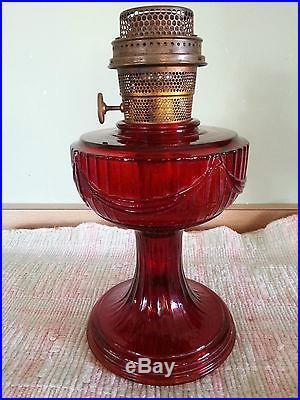 Ruby Red Aladdin Lamp Short Lincoln Drape Antique