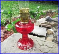 Ruby Red Aladdin kerosene mantle Lamp Lincoln Drape Mint Never used