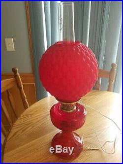 Ruby Red Short Lincoln Drape 1979 Aladdin Lamp With Shade