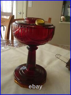 Ruby Red Tall Lincoln Drape Aladdin Lamp B-77, Nu type'B' Burner Lox On Chimney