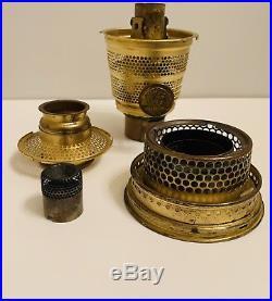 SCALLOPED Foot Antique Cobalt Blue Aladdin Tall Lincoln Drape Oil Kerosene Lamp