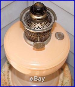 SCARCE 1932 33 Aladdin B Peach Painted Crystal Glass Kerosene Oil Table Lamp