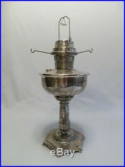 Stunning 1935-36 Silver-Plated Aladdin Orientale Kerosene Lamp, Antique