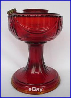Super Vintage Aladdin Ruby Red Lincoln Drape Short Lamp Base