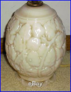 Superb Pair Of Vintage Aladdin Alacite 2 Bulb Oak Leaf Electric Table Lamps