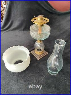 Unique Vintage Fluted Milk Glass Atlas Kerosene Lamp