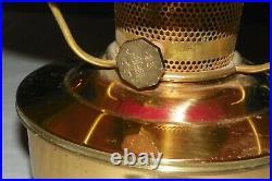VINTAGE ALADDIN BRASS HANGING KEROSENE LAMP WithSHERWOOD RED CASED GLASS SHADE