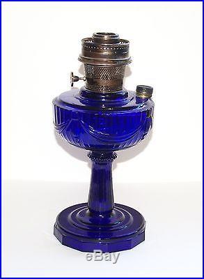 Vintage Aladdin Cobalt Blue Lincoln Drape Kerosene Lamp 23