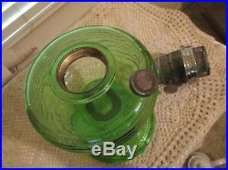 VINTAGE ALADDIN GREEN BEEHIVE KEROSENE OIL LAMP withBURNER EX COND