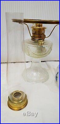 VINTAGE ALADDIN OIL HURRICANE LAMP With 10CRYSTAL BLUE ROSE SHADE Model 23 burner