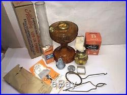 VTG Aladdin Amber Glass Lincoln Drape Oil Lamp Kerosene 23 Burner Mantle Chimney