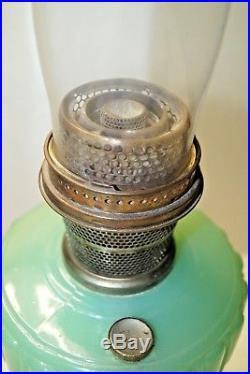 VTG Antique 1934 Aladdin Jadeite Cathedral Kerosene Oil Table Lamp With Chimney