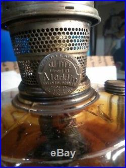 VTG GLASS ALADDIN NU TYPE MODEL B KEROSENE OIL MANTLE LAMP works