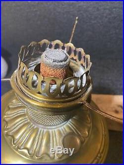 VTG Nickel Brass Aladdin Mantle Lamp Model 12 Burner Kerosene Milk Glass Shade