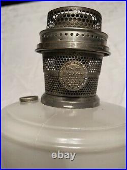 Very Nice Antique Aladdin Venetian Satin White Alpha Crystal Model-A Lamp 1932