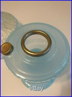 Very Rare 1992 Aladdin Short Lincoln Drape Blue Moonstone Lamp, Shade, 23 Burner