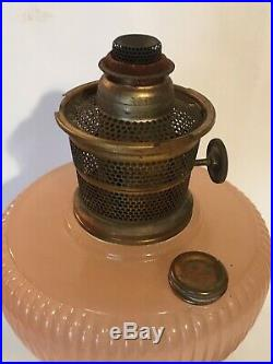 Vintage 1930's Aladdin Pink Moonstone Vertique oil kerosene Lamp