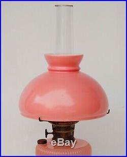 Vintage 1930's Aladdin Pink Moonstone Vertique oil kerosene Lamp withShade Chimney