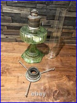 Vintage 1930s Aladdin Kerosene Corinthian Oil Lamp Green Glass Base Model B