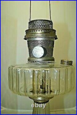 Vintage 1935-1936 Aladdin Corinthian Clear Oil Kerosene Lamp & Chimney