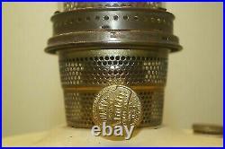 Vintage 1935-1936 Aladdin Oriental Ivory Painted Oil Kerosene Lamp With Chimney
