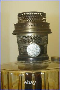 Vintage 1935 36 Aladdin Corinthian Clear & Black Oil Kerosene Lamp & Chimney