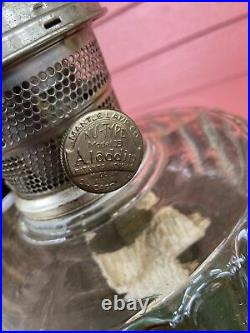 Vintage 1935 36 Aladdin Corinthian Clear & Green Oil Kerosene Lamp & Chimney