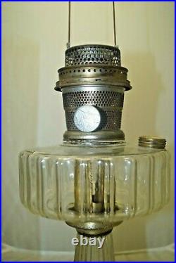 Vintage 1935 36 Aladdin Corinthian Clear Oil Kerosene Lamp & Chimney