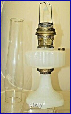 Vintage 1935 36 Aladdin Corinthian White Moonstone Oil Kerosene Lamp & Chimney