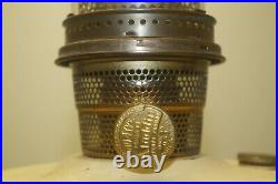 Vintage 1935 36 Aladdin Oriental Ivory Painted Oil Kerosene Lamp With Chimney
