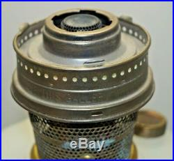 Vintage 1935 Aladdin Corinthian White Alacite Moonstone Kerosene Oil Table Lamp
